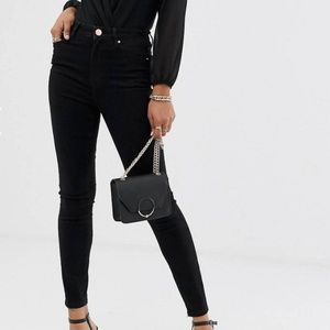 ASOS high rise ridley black skinny jeans 35W 32L